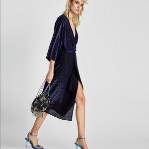 NWT Zara Blue Shimmery V Neck Faux Wrap Dress